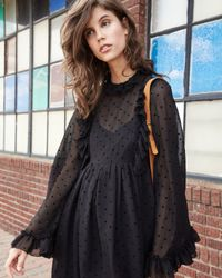 See By Chloé | Black Long-sleeve Chiffon Polka-dot Mini Dress | Lyst