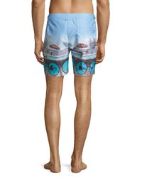Orlebar Brown - Blue Bulldog Swimming Around Printed Swim Trunks for Men - Lyst