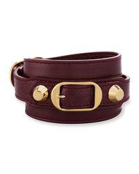 Balenciaga - Purple Classic Leather Wrap Bracelet - Lyst