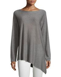 Eileen Fisher | Gray Merino-knit Ballet-neck Top | Lyst