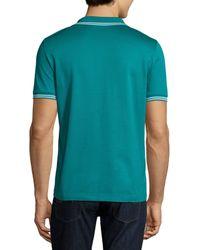 Ferragamo - Blue Tape-tipped Short-sleeve Polo Shirt for Men - Lyst
