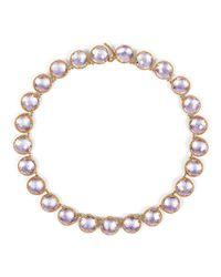 Larkspur & Hawk - Pink Olivia 18k Rose Gold-washed Button Rivière Necklace - Lyst