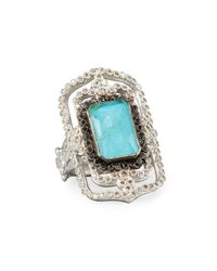 Armenta - Blue New World Midnight Turquoise & Diamond Scroll Ring - Lyst