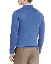 Peter Millar - Blue Merino Quarter-zip Sweater for Men - Lyst