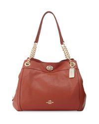 COACH   Orange Turnlock Edie Leather Shoulder Bag   Lyst