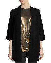 Halston | Black Ribbed Wool-blend Kimono Cardigan | Lyst
