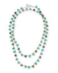 An Old Soul - Blue Snakeskin-print Jasper & Crystal Crocheted Necklace - Lyst