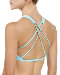 L*Space - Blue Haute Solid Strappy-back Swim Top - Lyst
