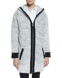 Rag & Bone - White Adele Hooded Ribbed Sweater Coat - Lyst