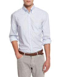Brunello Cucinelli - Blue Twill Check Long-sleeve Sport Shirt for Men - Lyst