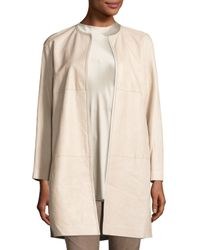 Lafayette 148 New York | Natural Nancy Long Open-front Lambskin Leather Jacket | Lyst