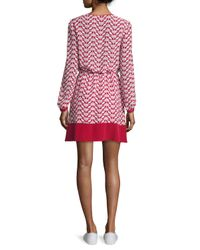 RED Valentino - Red Long-sleeve Split-neck Printed Dress - Lyst