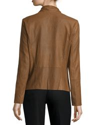 Neiman Marcus - Brown Pick-stitch Draped-front Suede Jacket - Lyst