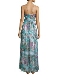 Aidan Mattox - Multicolor Halter-neck Floral-print Maxi Dress - Lyst