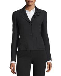 ESCADA - Black Embellished Collar Two-button Jacket - Lyst