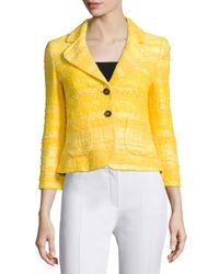 ESCADA - Yellow 3/4-sleeve Tonal-striped Short Jacket - Lyst