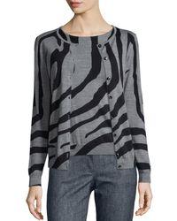 ESCADA   Multicolor Zebra-print Crystal-button Cardigan   Lyst