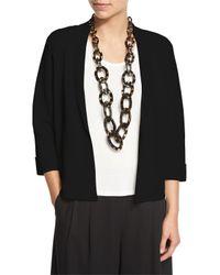 Eileen Fisher   Black Silk Organic Cotton Interlock Boxy Jacket   Lyst