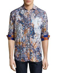 Robert Graham Blue Limited Edition Tile-print Sport Shirt for men
