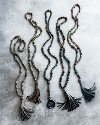 Hipchik Couture - Black Farrah Beaded Leather Tassel Necklace - Lyst