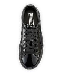PUMA - Black Basket Patent Platform Low-top Sneaker - Lyst