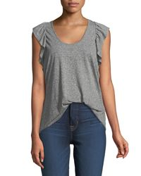 Current/Elliott - Gray The Cadence Scoop-neck Racerback Tank With Ruffle Sleeves - Lyst