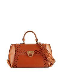Ferragamo | Multicolor Sofia Medium Perforated Leather Satchel Bag | Lyst