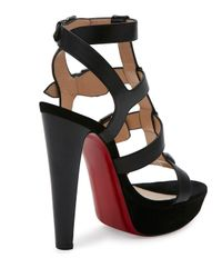 Christian Louboutin - Black Rockin Buckle Up 140mm Red Sole Sandal - Lyst