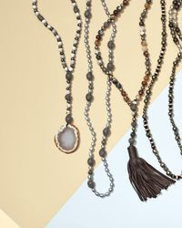 Hipchik Couture - Blue Roni Beaded Necklace With Leather Tassel - Lyst