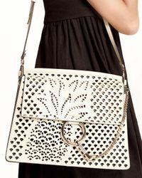 Chloé - White Faye Medium Perforated-pineapple Shoulder Bag - Lyst