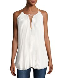 Elizabeth and James - White Nina Pleated Chiffon Tie-front Top - Lyst
