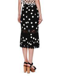 Dolce & Gabbana - Black Lace-trim Polka Dot Skirt - Lyst