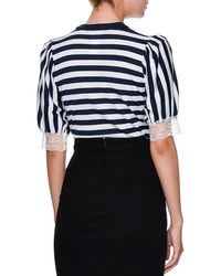 Dolce & Gabbana - Blue Striped Lace-trim Cardigan - Lyst