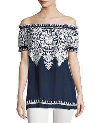 Naeem Khan | Blue Embroidered Off-the-shoulder Blouse | Lyst