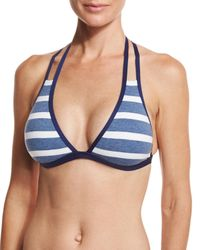 Splendid | Blue Chambray Cottage Striped Strappy Halter Swim Top | Lyst