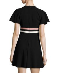RED Valentino - Black Short-sleeve Striped Crepe Dress - Lyst