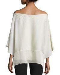 Halston | White Off-shoulder Poncho Top | Lyst