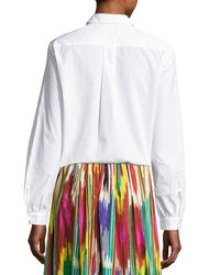 Etro | White Floral-embroidered Cotton Blouse | Lyst