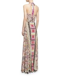 Etro | Multicolor Ikat & Paisley-print Halter Gown | Lyst