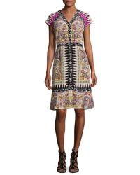 Etro | Multicolor Paisley Floral-trim V-neck Flounce Dress | Lyst