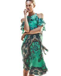 Etro - Green Tropical-print Ruffled Cold-shoulder Dress - Lyst