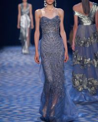 Marchesa - Blue Beaded Illusion Column Gown - Lyst