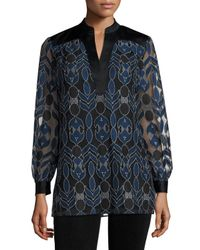 Tory Burch | Blue Harbor Split-neck Lace Tunic | Lyst