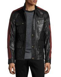 Belstaff | Black Daytona Waxed Leather Jacket W/racing Stripes for Men | Lyst
