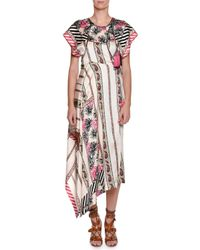 Etro | Pink Short-sleeve Asymmetric Silk Midi Dress | Lyst