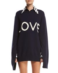 Michael Kors - Blue Love Oversized Crewneck Sweater - Lyst