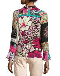 Etro | Black Tropical-print Ruffled Wrap Top | Lyst