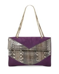 Nina Ricci   Purple Mado Fold-over Snakeskin Shoulder Bag   Lyst