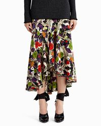 Jason Wu - Black Floral-print Asymmetric Midi Skirt - Lyst