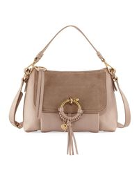 See By Chloé   Gray Ring Medium Suede & Leather Shoulder Bag   Lyst